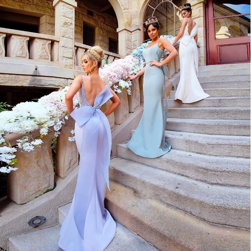 Mermaid Spaghetti Straps Backless Bridesmaid Dress with Appliques Bowknot