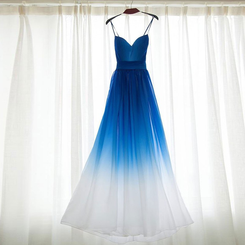 A-Line Spaghetti Straps Backless Long Ombre Blue Bridesmaid Dress