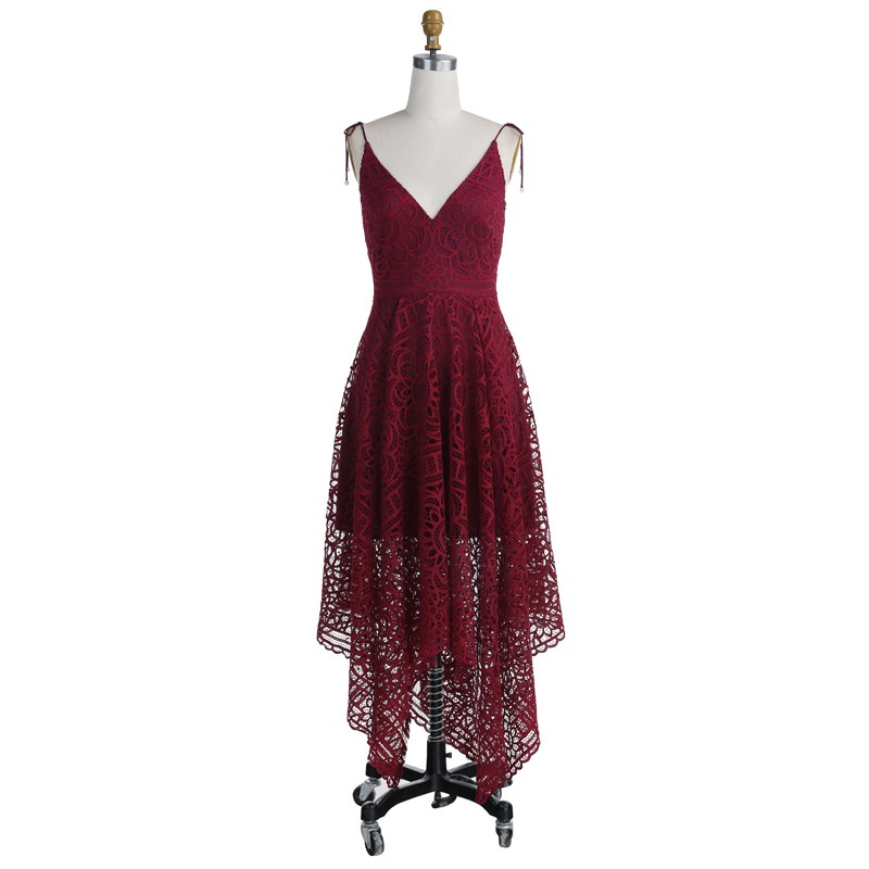 A-Line Asymmetrical Spaghetti Straps Burgundy Lace Bridesmaid Dress