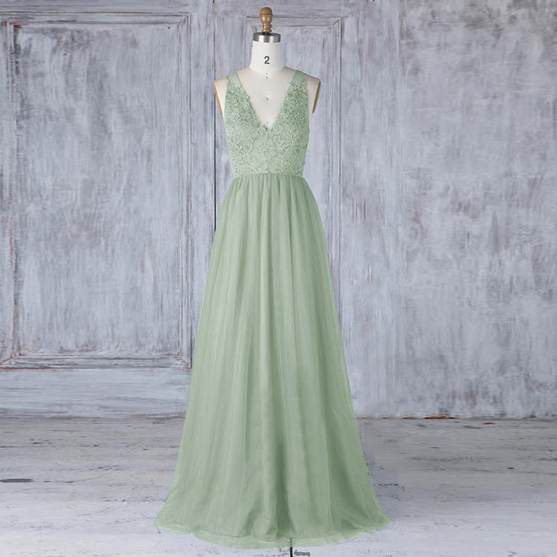 A-Line V-Neck Open Back Sage Tulle Bridesmaid Dress with Lace