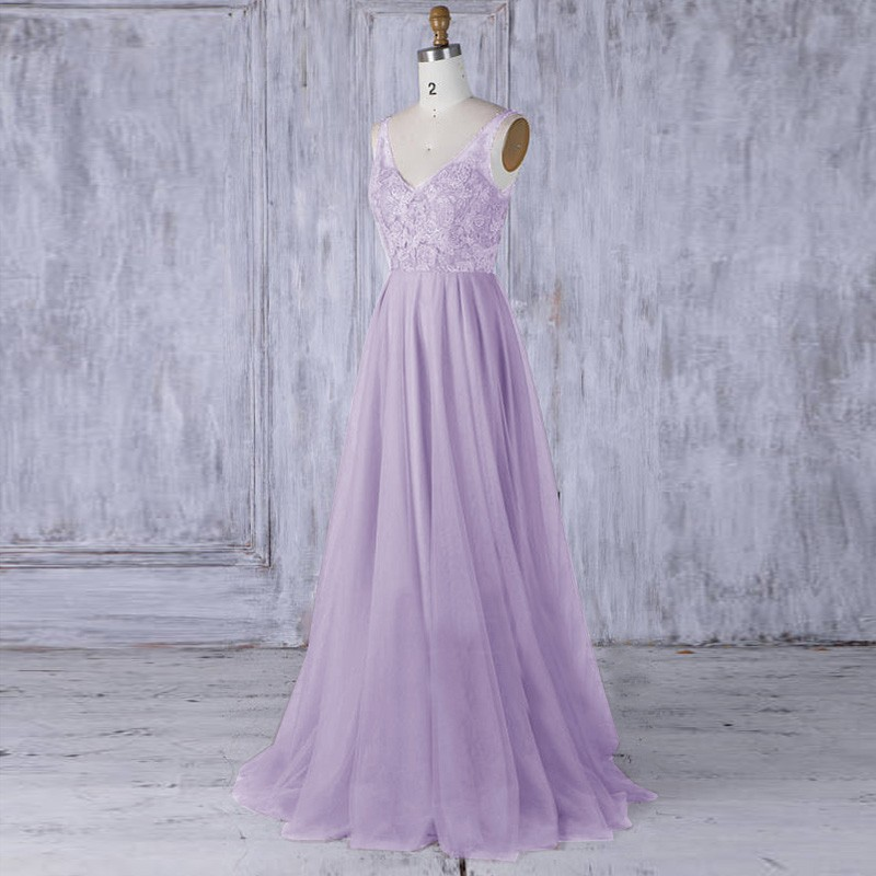 A-Line V-Neck Lavender Tulle Bridesmaid Dress with Embroidery Sequins
