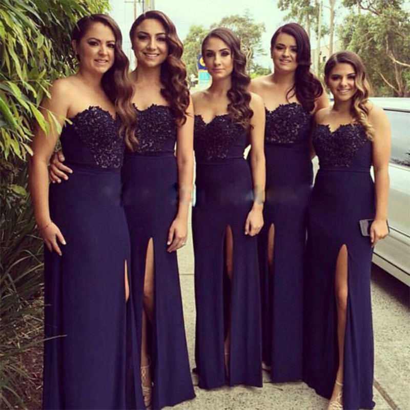Sheath Sweetheart Floor-Length Navy Blue Bridesmaid Dress with Appliques