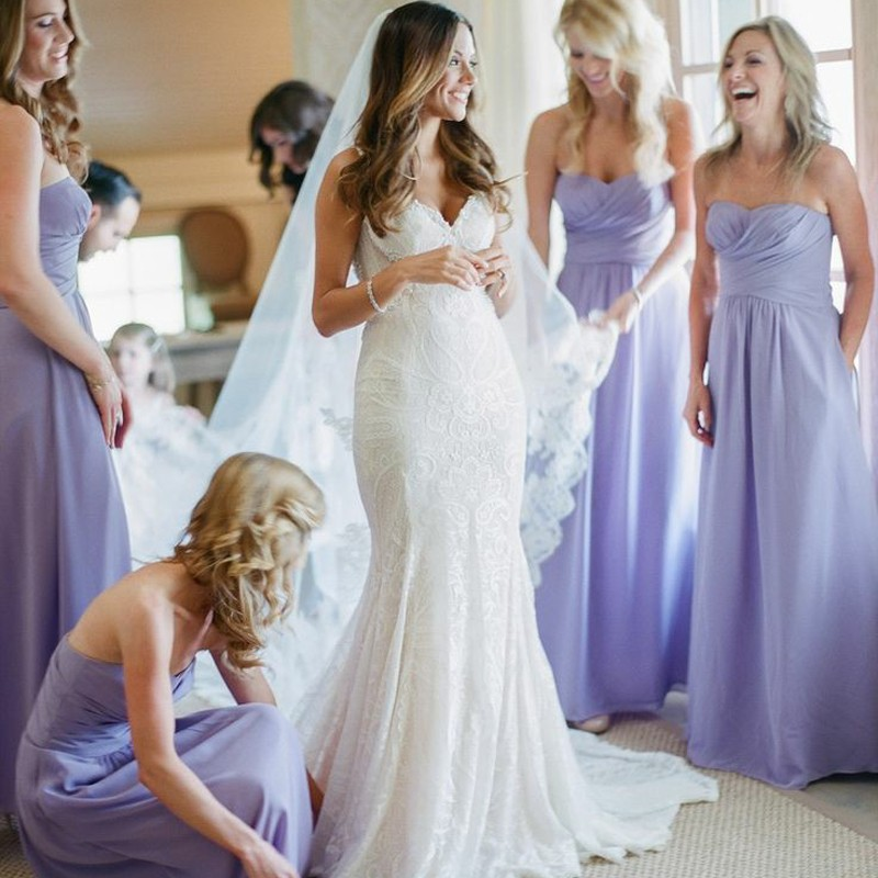 A-Line Sweetheart Floor-Length Lavender Chiffon Bridesmaid Dress Ruched