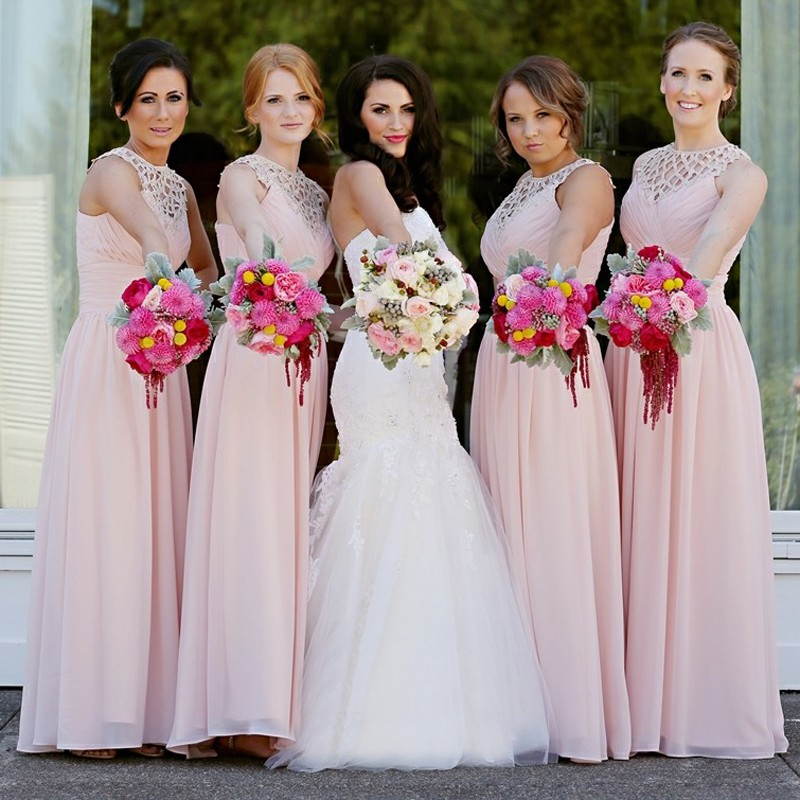 A-Line Round Neck Floor-Length Pearl Pink Chiffon Bridesmaid Dress with Lace