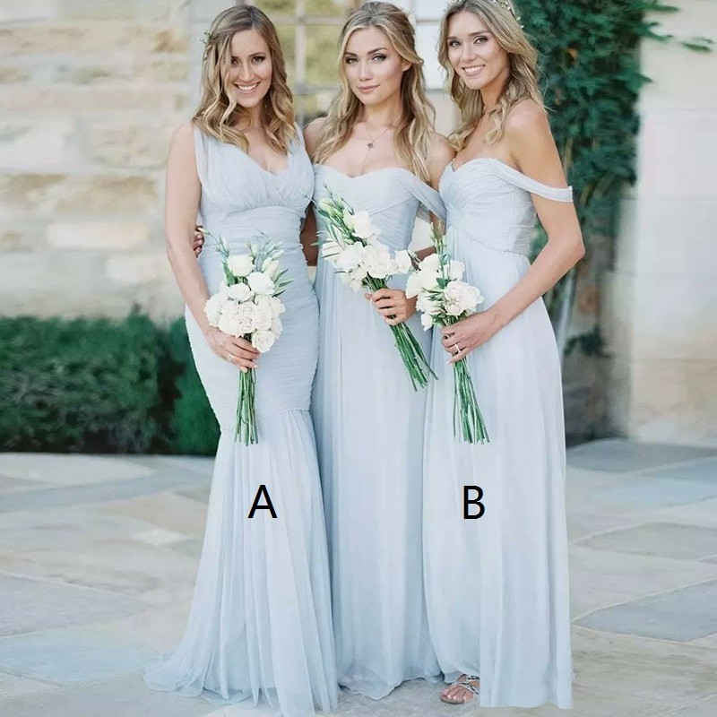 Mermaid V-Neck Floor-Length Light Blue Ruched Tulle Bridesmaid Dress