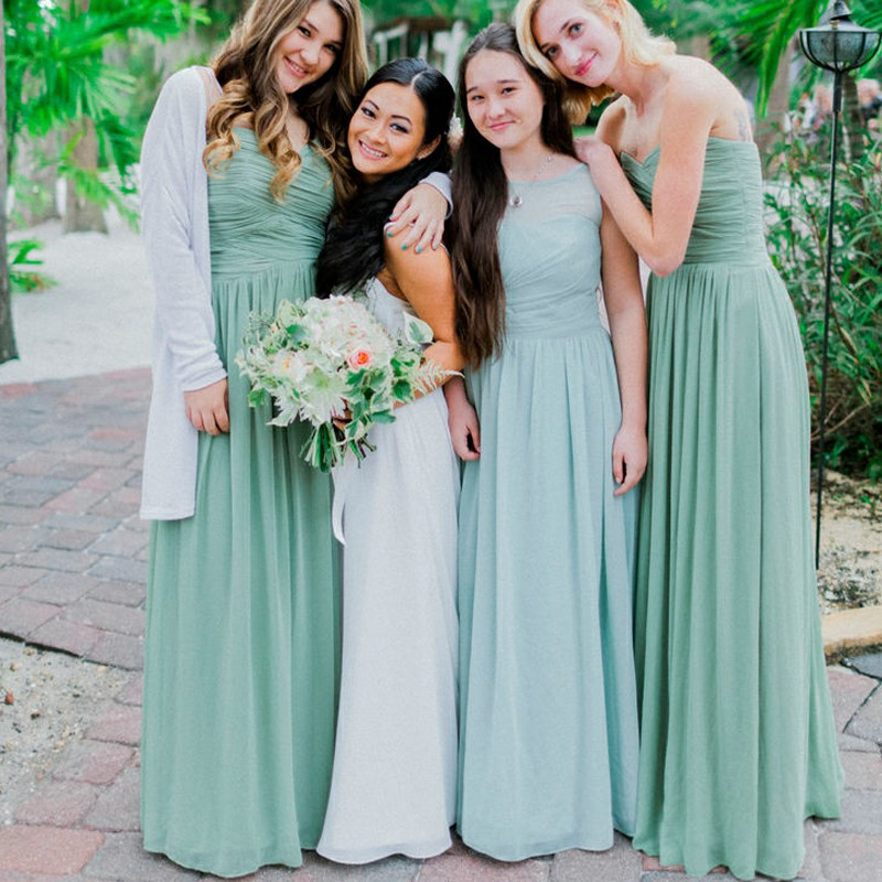 A-Line Sweetheart Floor-Length Ruched Sage Chiffon Bridesmaid Dress