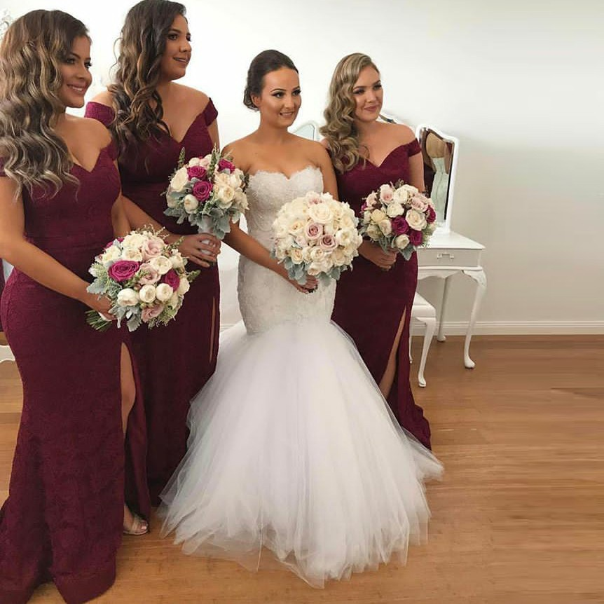Sheath Off-the-Shoulder Burgundy Lace Bridesmaid Dress with Split
