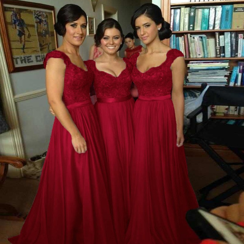A-Line Scoop Floor-Length Red Chiffon Bridesmaid Dress with Lace