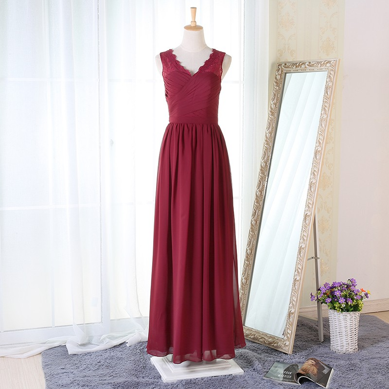 A-Line V-Neck Floor-Length Burgundy Chiffon Bridesmaid Dress with Lace