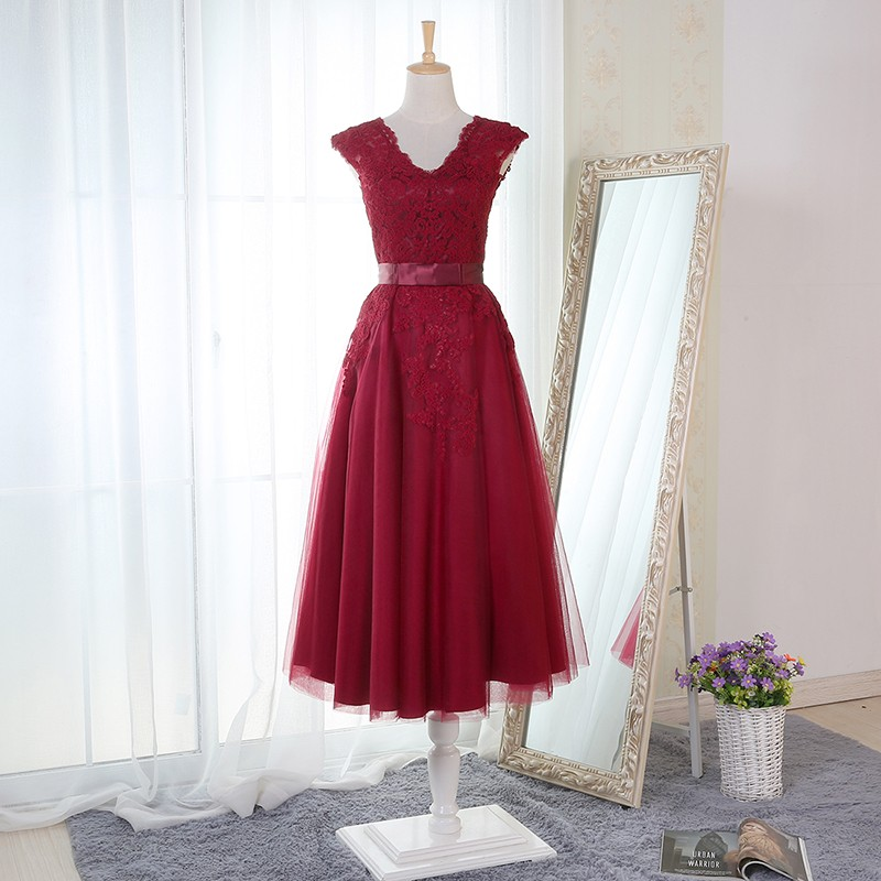 A-Line V-Neck Knee-Length Burgundy Bridesmaid Dress with Appliques