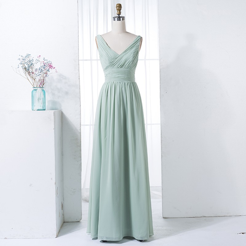 A-Line V-Neck Floor-Length Sage Chiffon Bridesmaid Dress with Pleats