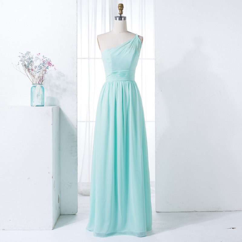 A-Line One-Shoulder Mint Chiffon Bridesmaid Dress with Beading Pleats