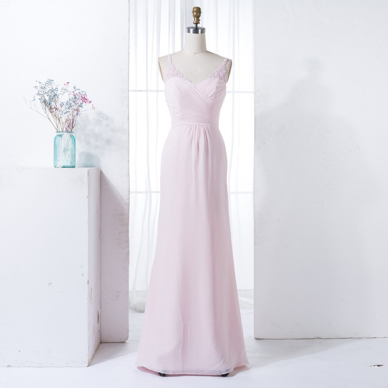 Sheath V-Neck Floor-Length Pearl Pink Chiffon Bridesmaid Dress with Lace