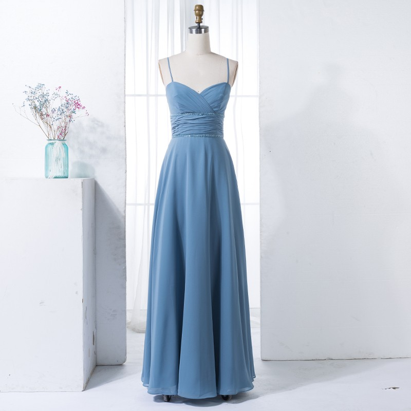 A-Line Spaghetti Straps Floor-Length Dark Blue Bridesmaid Dress with Sequins