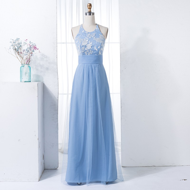 A-Line Round Neck Blue Tulle Long Bridesmaid Dress with Lace