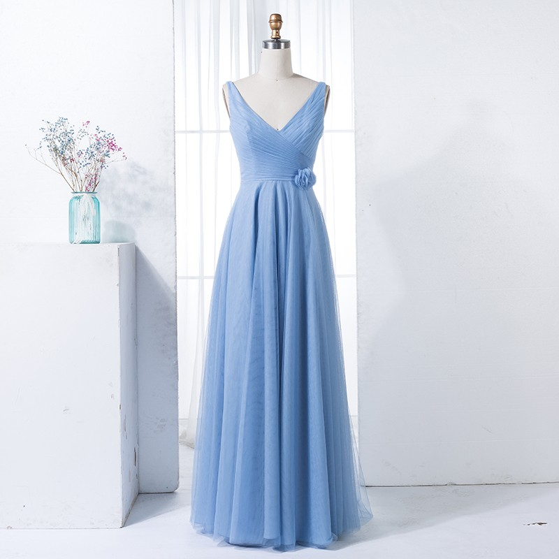 A-Line V-Neck Blue Tulle Long Bridesmaid Dress with Flower
