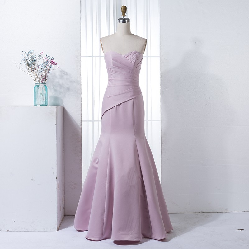 Mermaid Sweetheart Blush Satin Bridesmaid Dress with Pleats