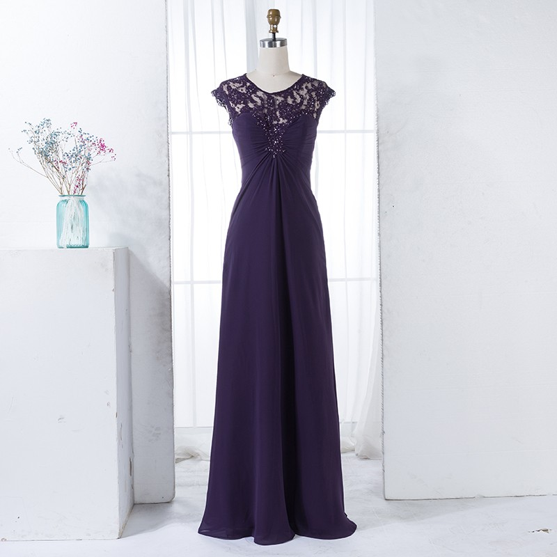 A-Line Round Neck Cap Sleeves Long Grape Bridesmaid Dress with Lace