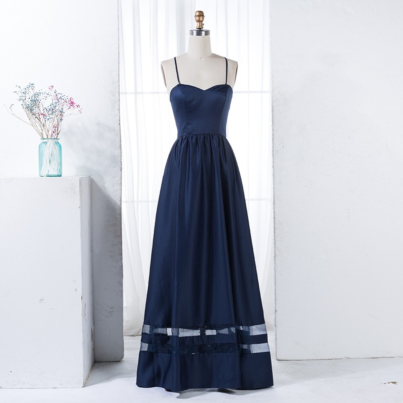 A-Line Spaghetti Straps Navy Blue Satin Bridesmaid Dress with Pleats