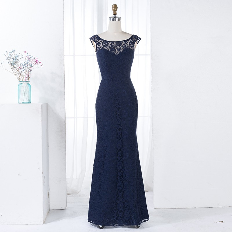 Mermaid Round Neck Backless Navy Blue Lace Bridesmaid Dress