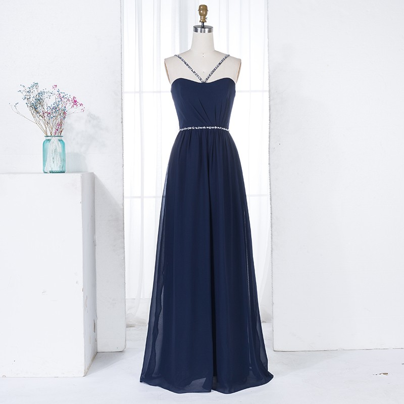 A-Line V-Neck Navy Blue Chiffon Long Bridesmaid Dress with Beading