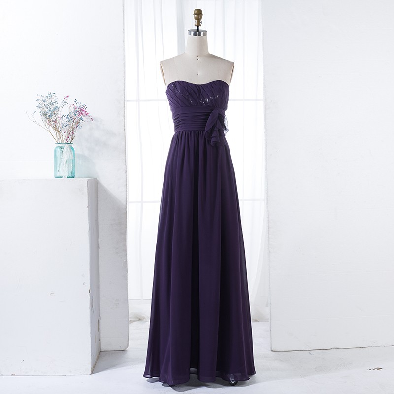 A-Line Sweetheart Grape Chiffon Bridesmaid Dress with Sequins Ruffles