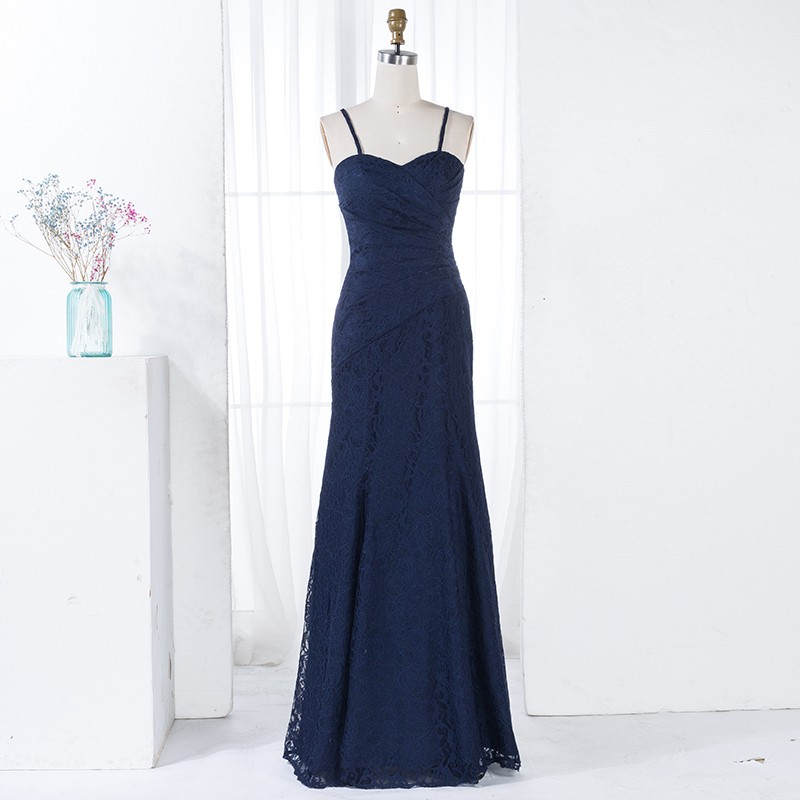 Mermaid Spaghetti Straps Navy Blue Lace Bridesmaid Dress with Pleats