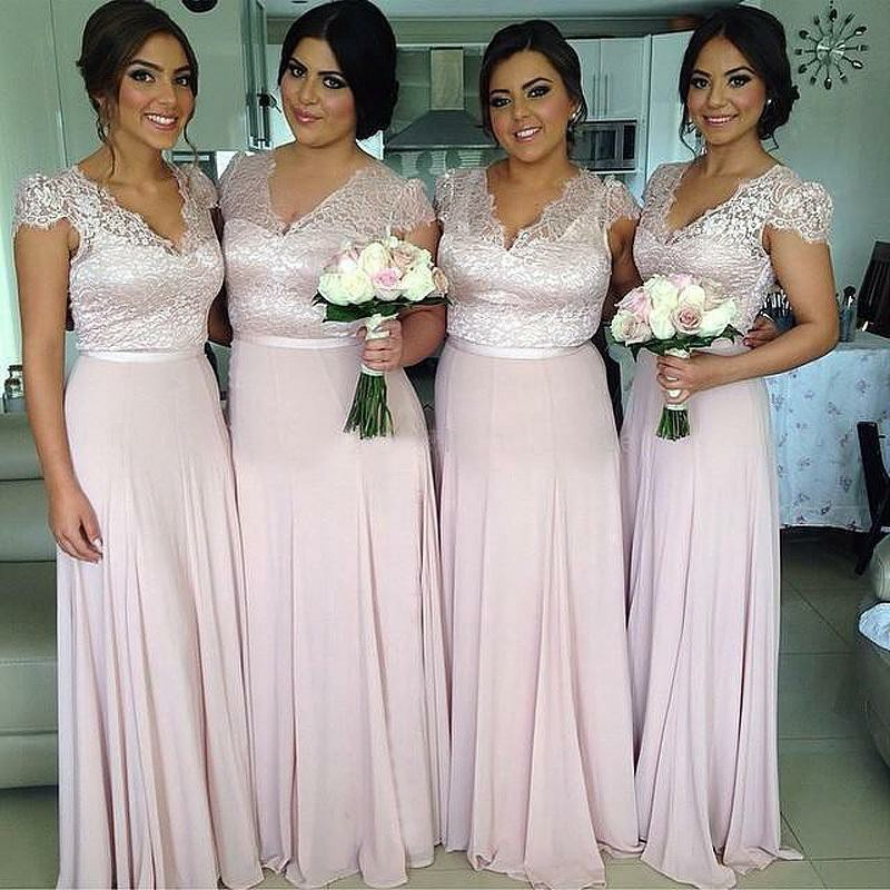 A-Line V-Neck Cap Sleeves Pearl Pink Chiffon Bridesmaid Dress with Lace