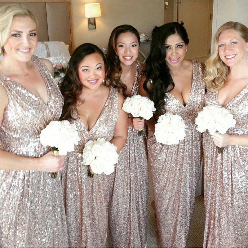 Sheath V-Neck Floor-Length Champagne Sequined Bridesmaid Dress