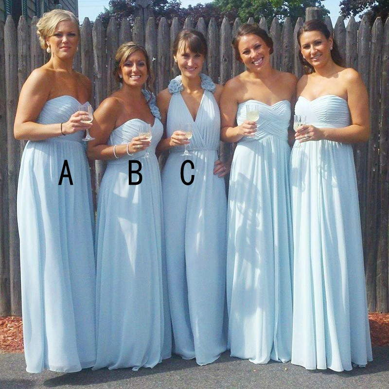 A-Line Sweetheart Floor-Length Blue Chiffon Bridesmaid Dress with Ruffles