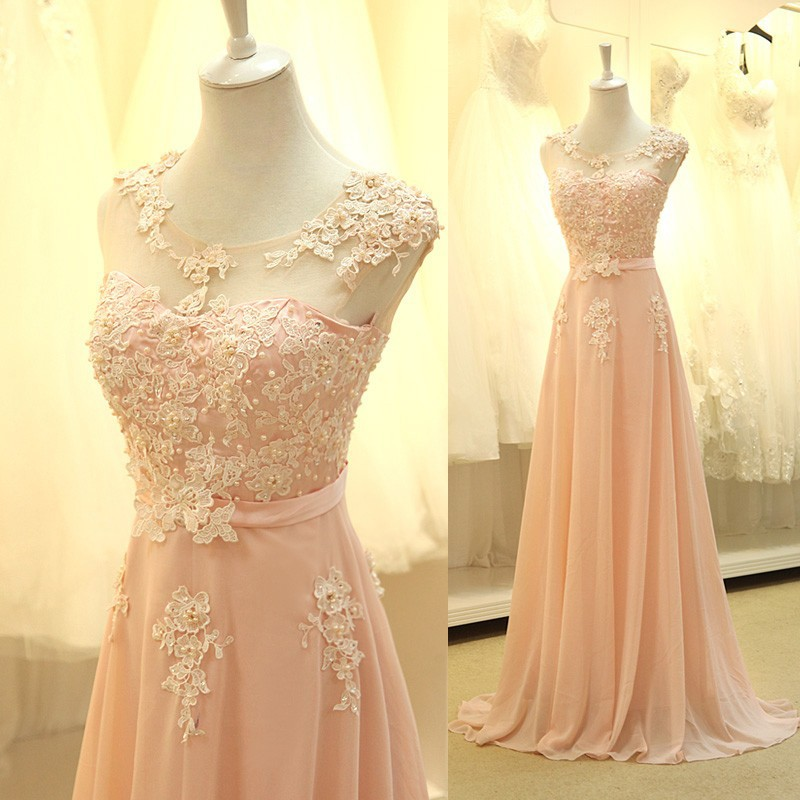 Luxurious A-Line Scoop Floor Length Chiffon Pink Evening/Prom Dress With Appliques Beading