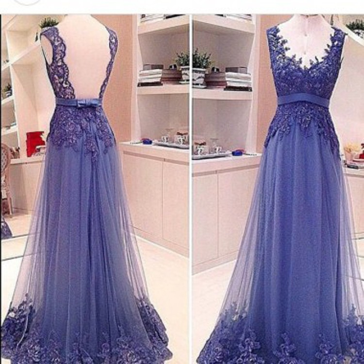 Classic A-Line Sweetheart Sweep Train Tulle Backless Purple Evening/Prom Dress With Appliques