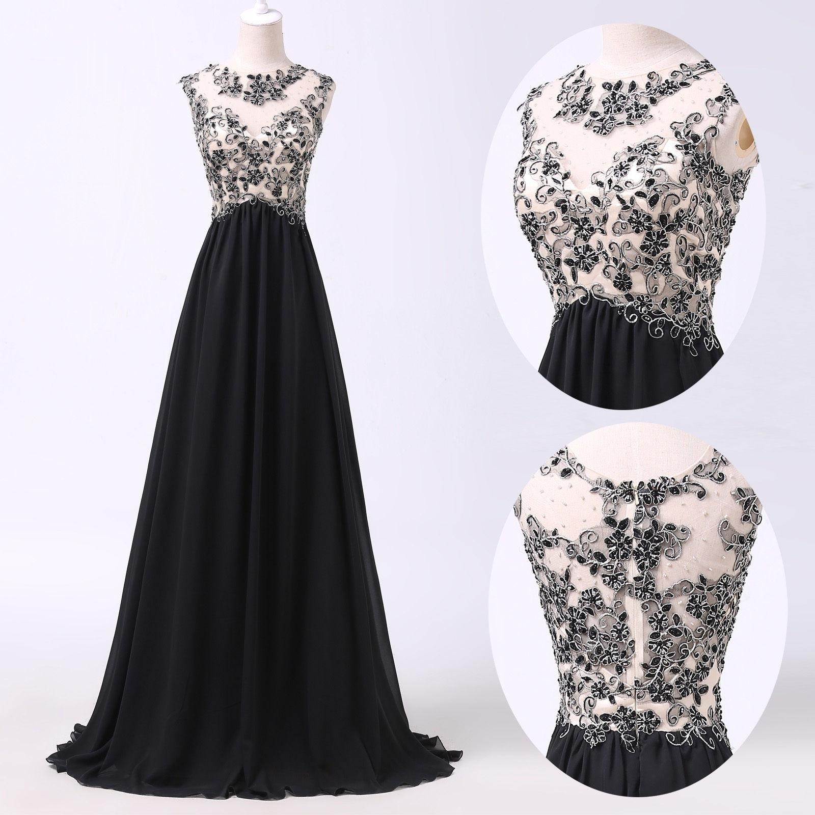 Luxurious A-Line Scoop Floor Length Chiffon Black Evening/Prom Dress With Beading