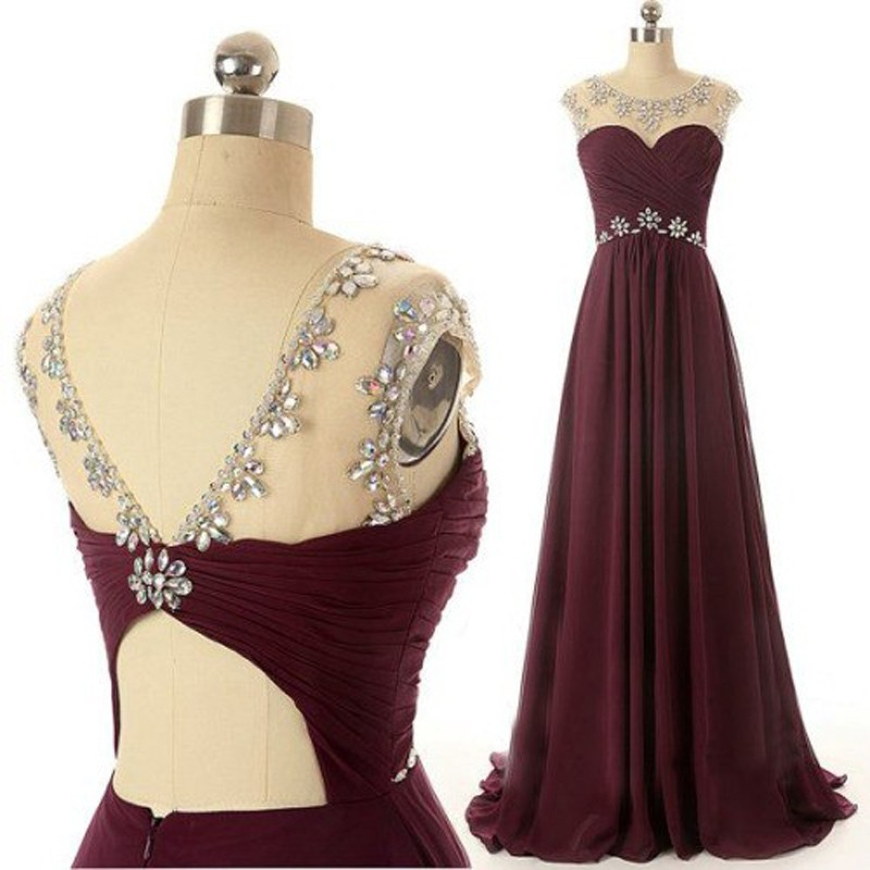 Glamorous A-Line Scoop Floor Length Chiffon Backless Burgundy Evening/Prom Dress With Beading