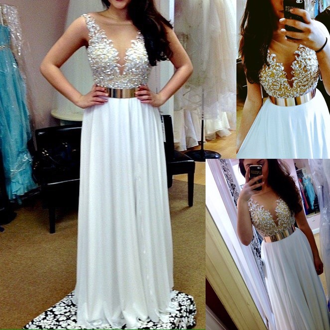 Luxurious A-Line V-neck Floor Length Empire Chiffon White Evening/Prom Dress With Beading