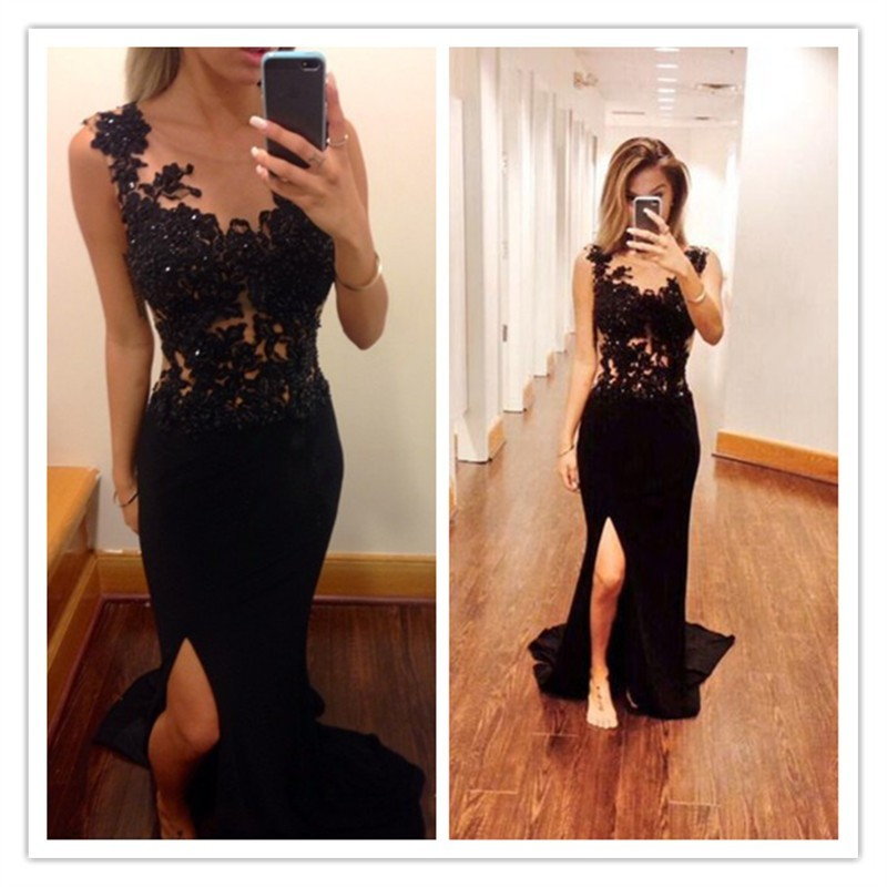 Elegant Luxurious Sheath Scoop Sweep Train Chiffon Black Evening/Prom Dress With Beading