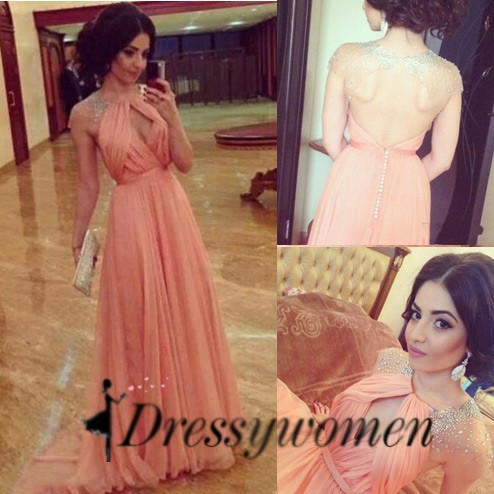 Elegant Luxurious A-Line Scoop Floor Length Chiffon Backless Pink Evening/Prom Dress With Beading