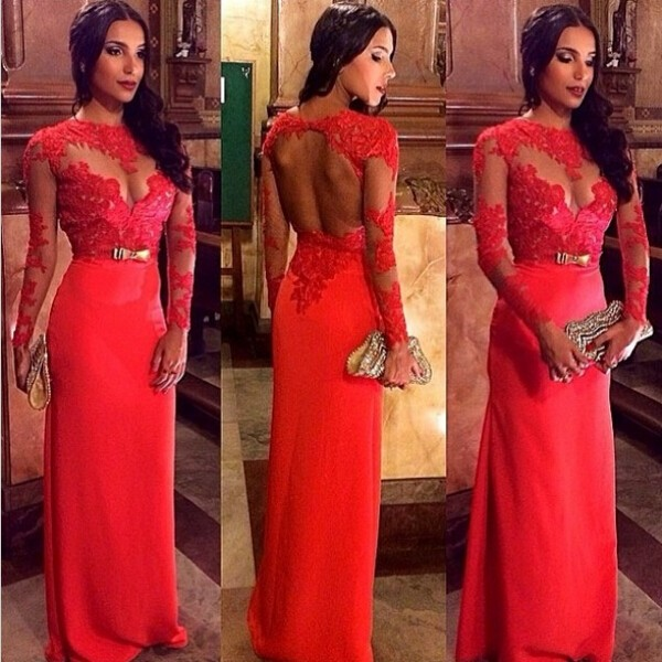 Floor Length Chiffon Backless Prom/Evening Dress - Red Sheath with Long Sleeves