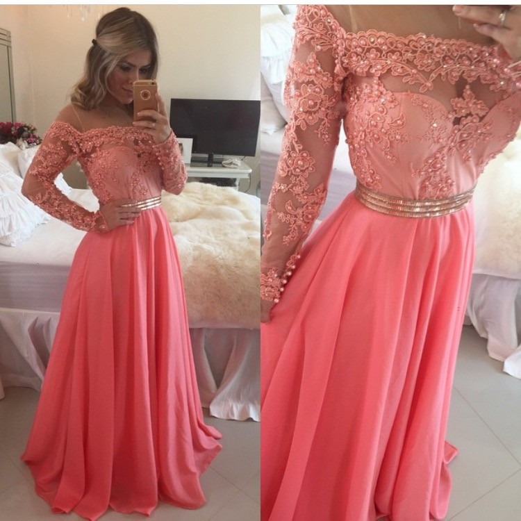 New Arrival Prom/Evening Dress - Coral A-Line with Pearls