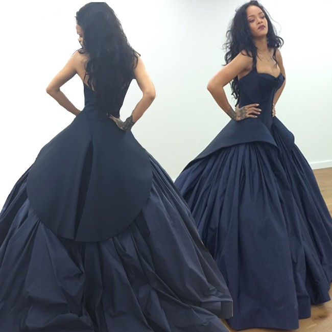 New Arrival Rihanna Same Style Prom/Evening Dress - Navy Blue Ball Gown Satin