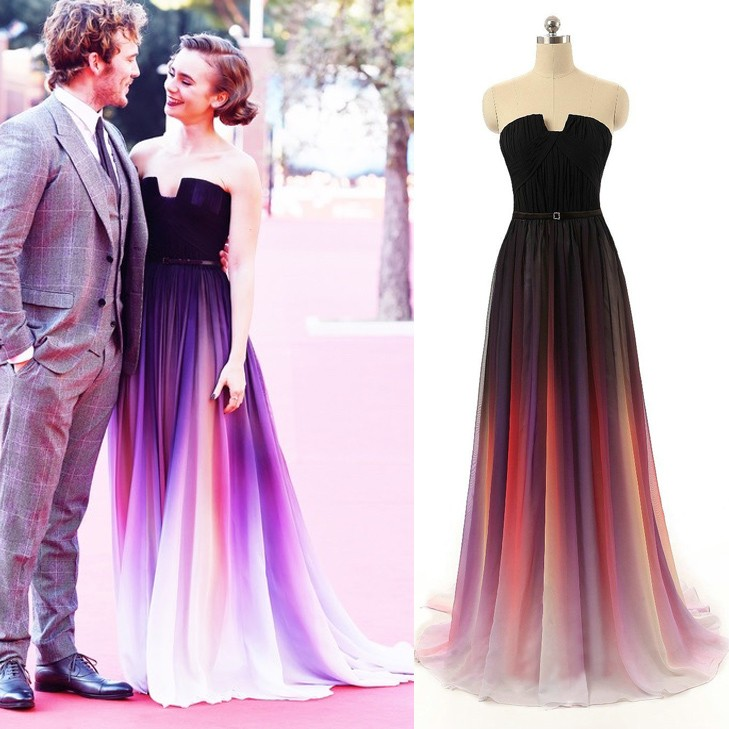 Elegant Floor Length Prom/Evening Dress - Purple Gradient A-Line with Sash