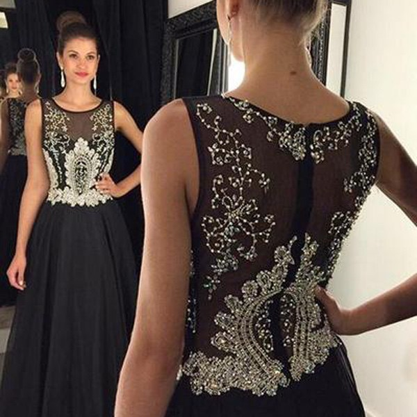 Elegant Long Prom Dress - Black Scoop with Beaded for Women