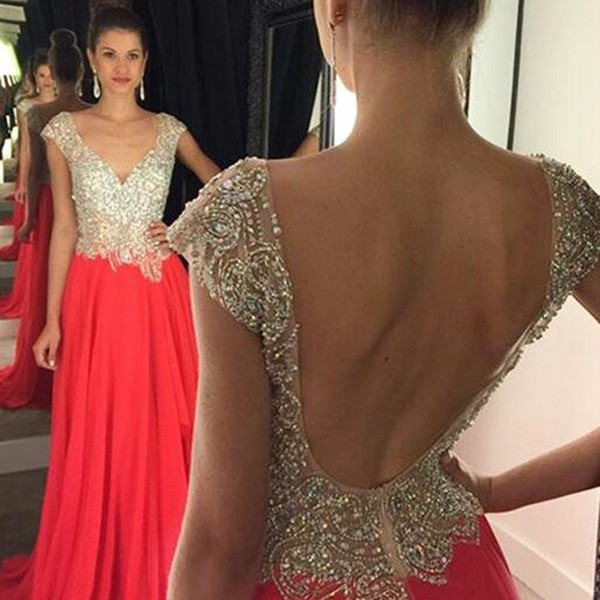 Generous Floor Length Prom Dress - Red A-Line Backless with Rhinestone