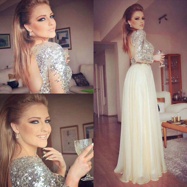 High Quality Long Prom/Evening Dress - Silver Sequins A-Line Backless with Long Sleeves