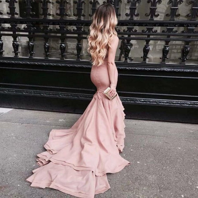Mermaid Strapless Backless Sweep Train Pink Prom/Evening Dress