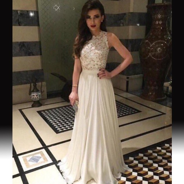 Charming Floor Length Prom Dress - White A-Line Top with Lace