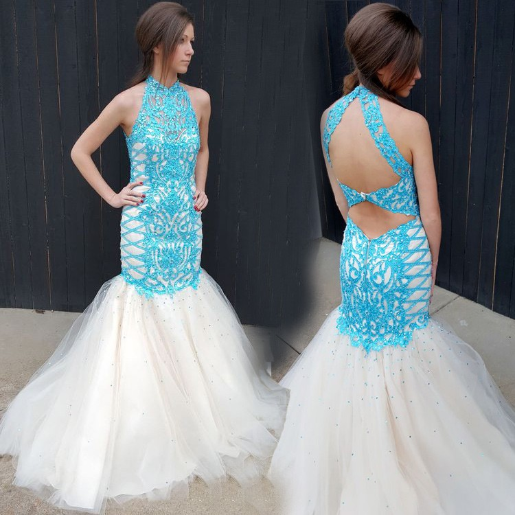 Elegant High Neck Tulle White With Blue Lace Mermaid Prom Evening Dress With Beading