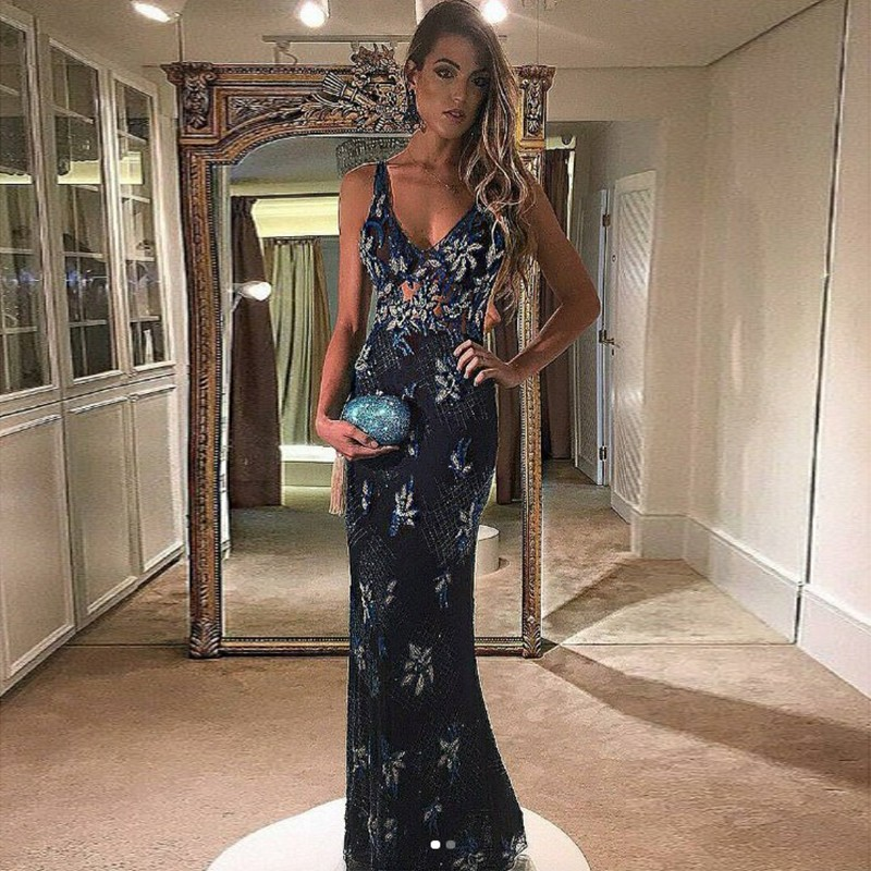 Mermaid V-Neck Floor-Length Navy Blue Lace Prom Dress with Appliques