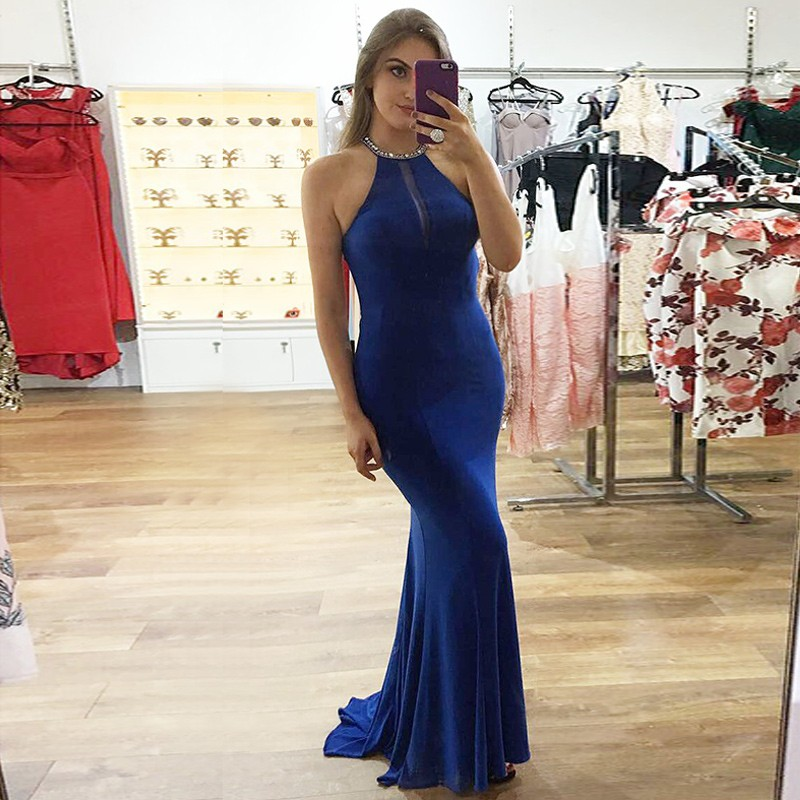 Mermaid Jewel Floor-Length Royal Blue Prom Dress with Beading Sequins