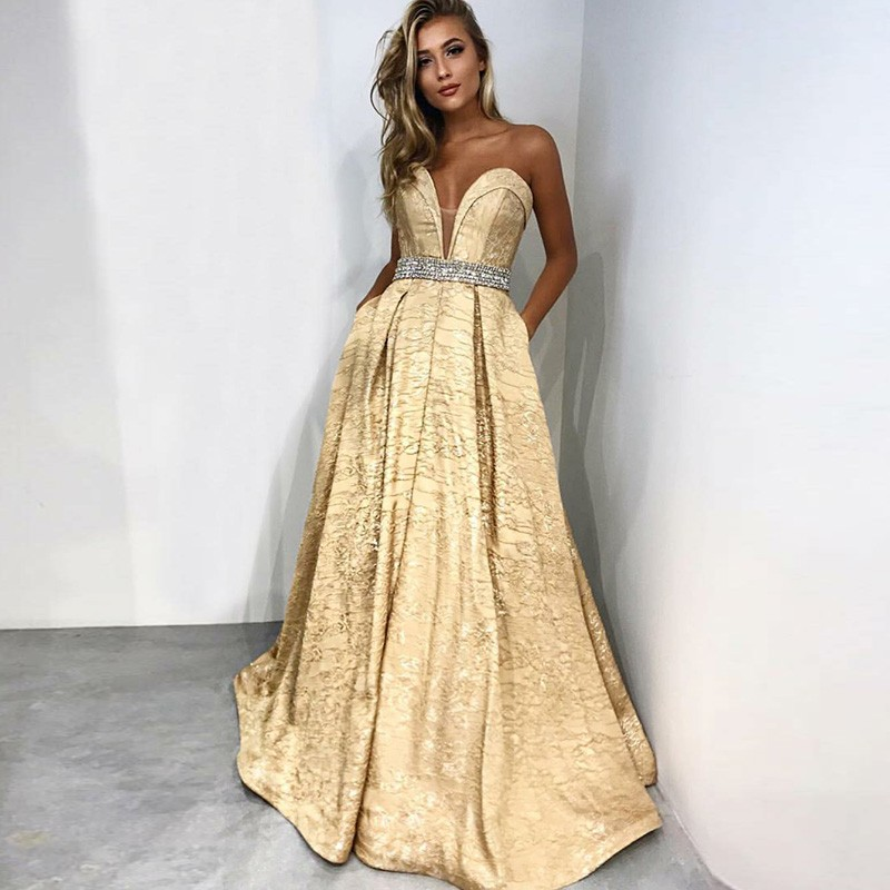 A-Line Sweetheart Sweep Train Champagne Prom Dress with Pockets